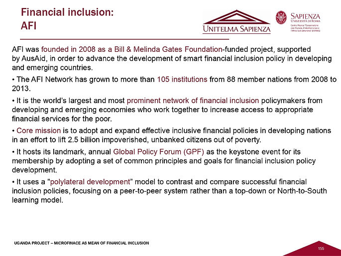 Pasca_Uganda Project, Financial Inclusio