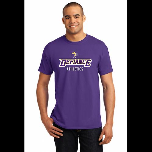 Unisex Purple Defiance College Adult Tee w/ Multiple Sport Options