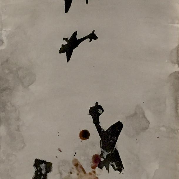 N°1375d, France 1940, 2018, 42x29 cm, sérigraphie et sang humain sur papier.