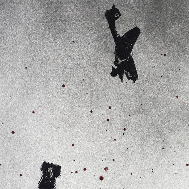 N°1375b, France 1940, 2018, 42x29 cm, sérigraphie et sang humain sur papier.