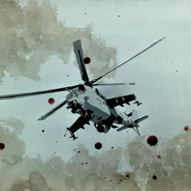 N°1371b, Afghanistan 1982, 2018, 29x42 cm, sérigraphie et sang humain sur papier.
