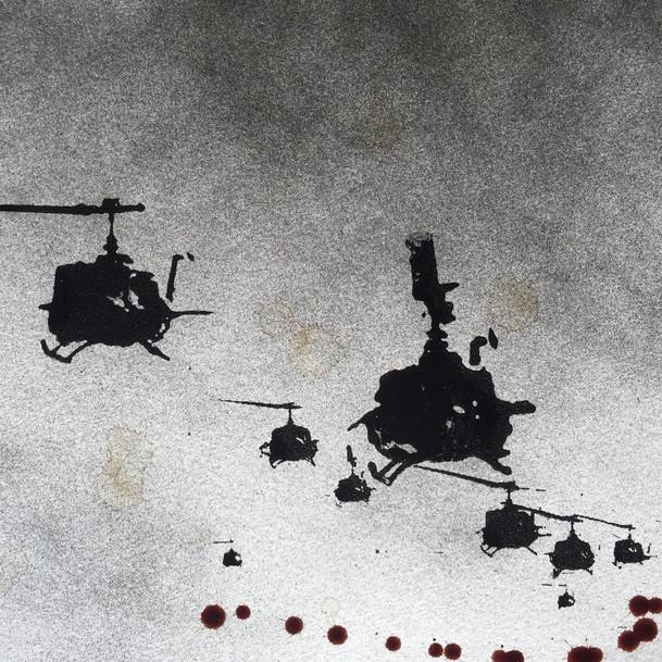 N°1372c, Vietnam 1972, 2018, 24x32 cm, sérigraphie et sang humain sur papier.