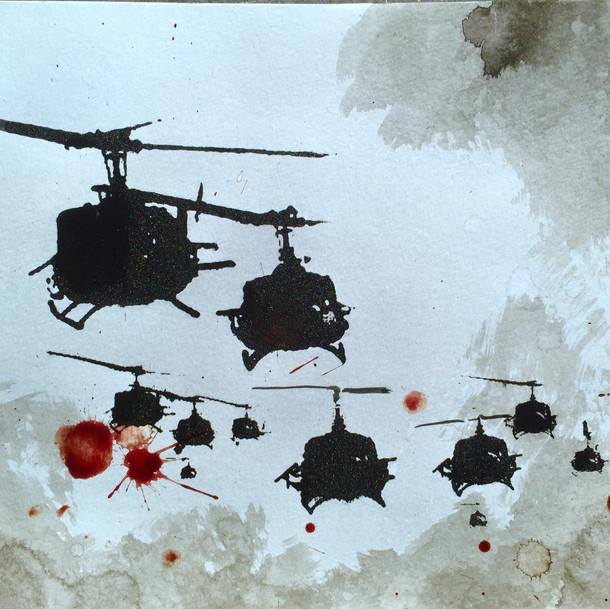 N°1372a, Vietnam 1972, 2018, 24x32 cm, sérigraphie et sang humain sur papier. Collection privée.