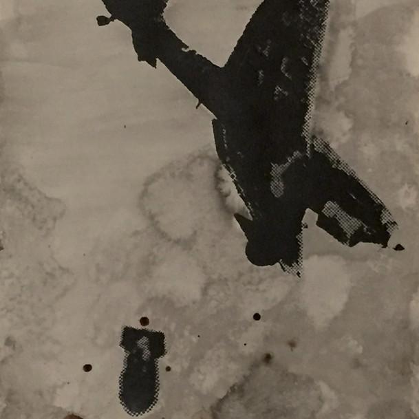 N°1375a, France 1940, 2018, 42x29 cm, sérigraphie et sang humain sur papier.