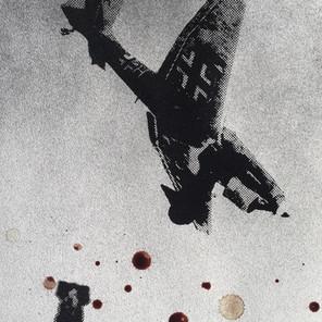 N°1375c, France 1940, 2018, 42x29 cm, sérigraphie et sang humain sur papier.