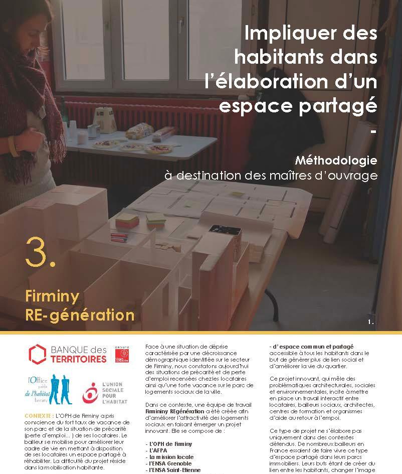 Projet Firminy RE-Génération Livrable 3 Impliquer des habitants dans l'élaboration d'un espace partagé