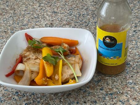 Pan Seared Swordfish with Explorer Food Chili Citrus Sauce Stir Fried Veggies