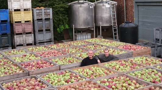 David and James pictured with 72 bins of apples which equates to 24tonnes of apples!!!