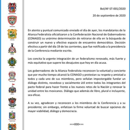 Hace oficial  AF su salida de la CONAGO