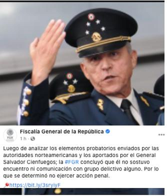 Exonera FGR a Gral. Salvador Cienfuegos