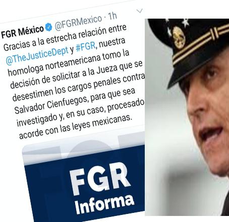 Retira EU cargos al Gral. Cienfuegos;  México lo investigará