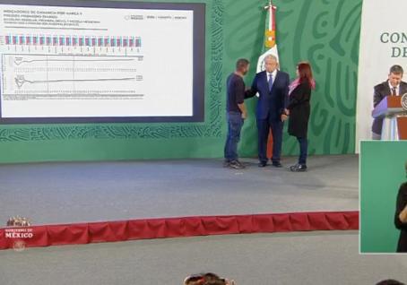 Hombre logra llegar hasta el Presidente AMLO en plena conferencia