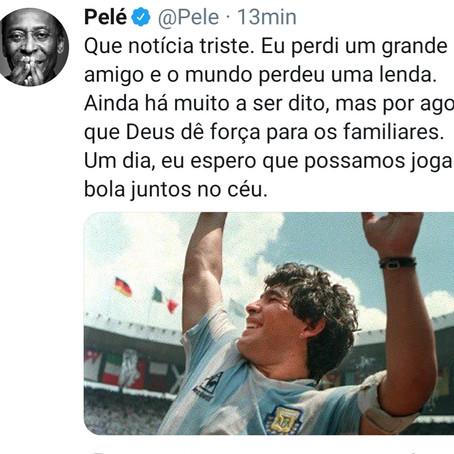Lamenta el rey Pelé muerte de su amigo Maradona