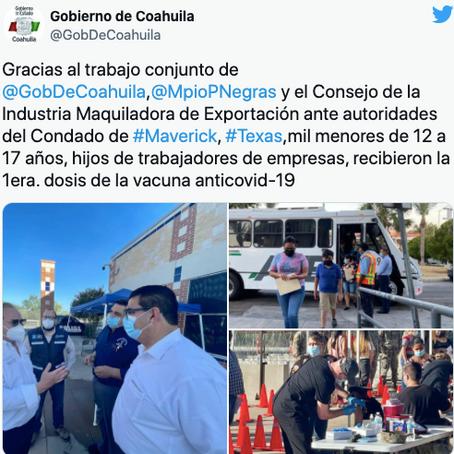 Niños de Coahuila los primeros en vacunarse contra covid-19