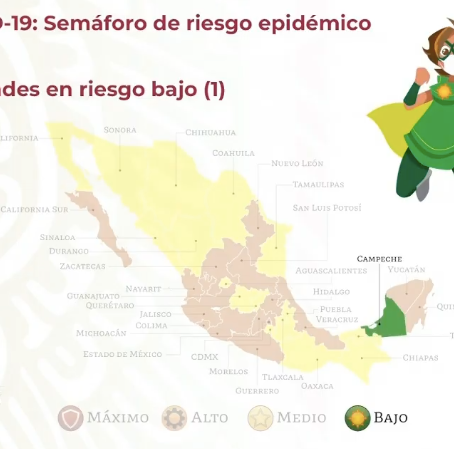 Campeche único estado que pasa a verde