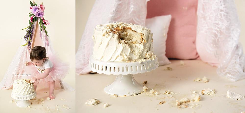 first birthday cake smash, flower tent