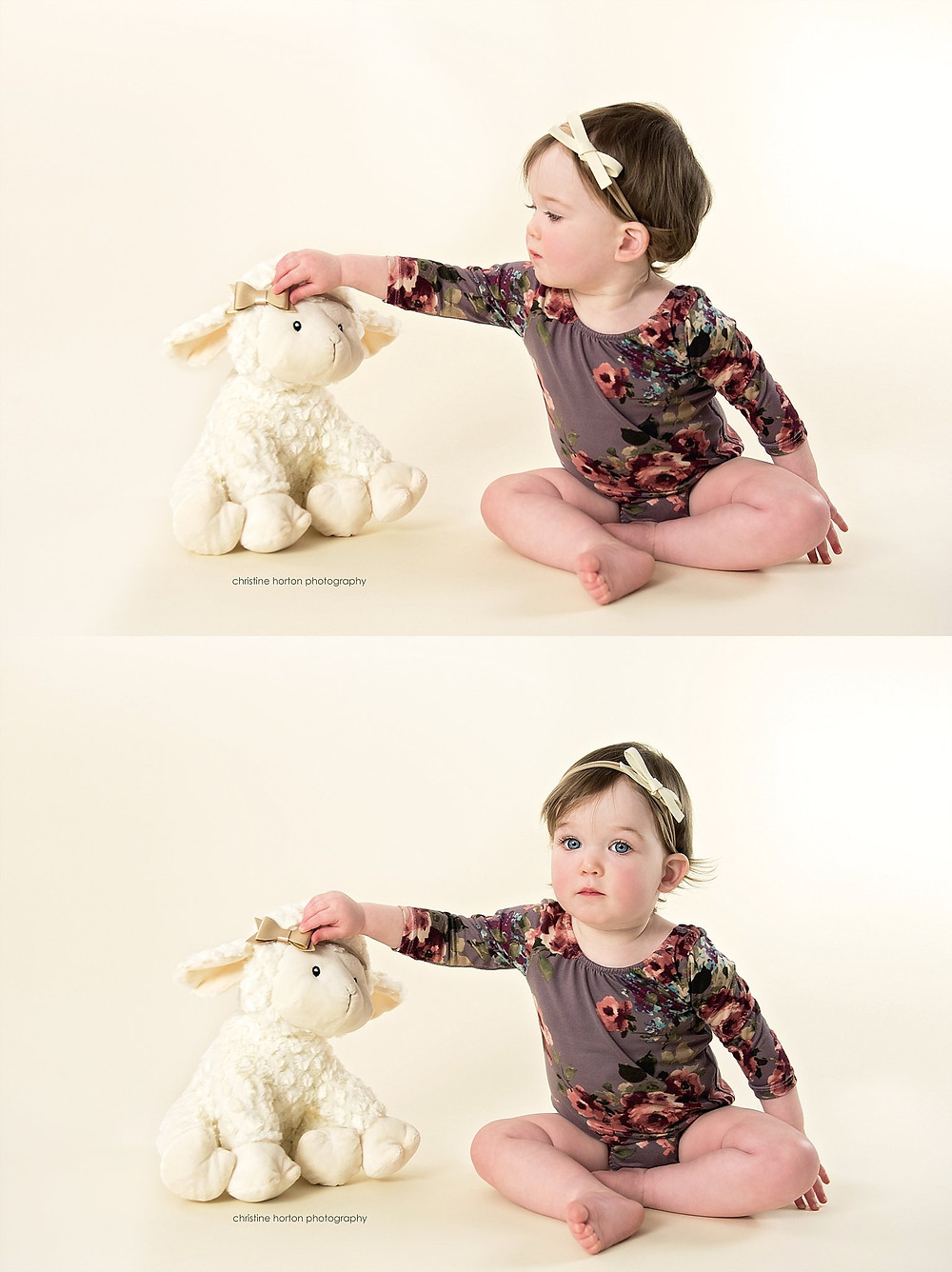 first birthday session, baby girl with lamb