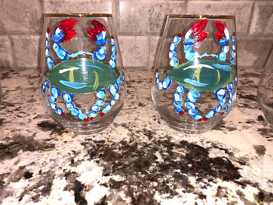 Crystal Blue Crab Stemless Pair IV