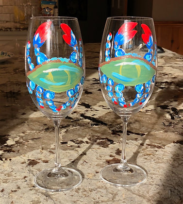 Blue Crab Wine Glass Pair II