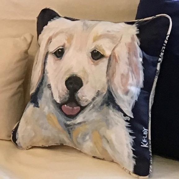 Golden Hand Painted Pillow