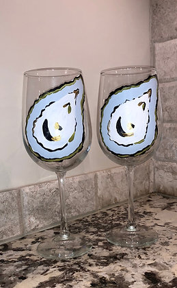 Elegant Oyster Wine Glass Pair II