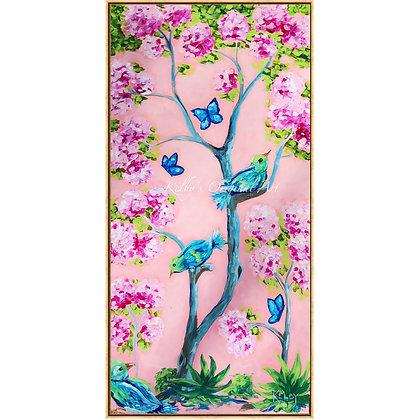 Cherry Blossom Chinoiserie Panel II