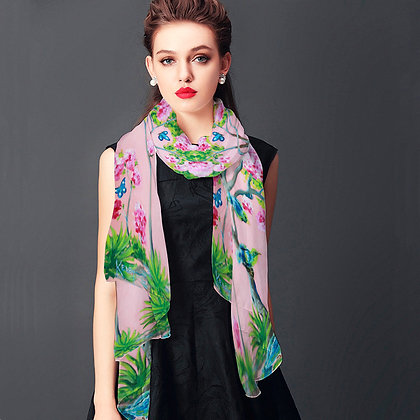 Cherry Blossom Chinoiserie Scarf