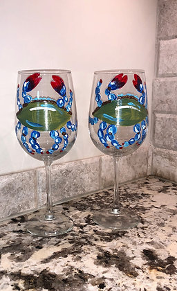 Elegant Blue Crab Wine Glass Pair II