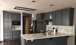 white granite kitchen with grey cabinets