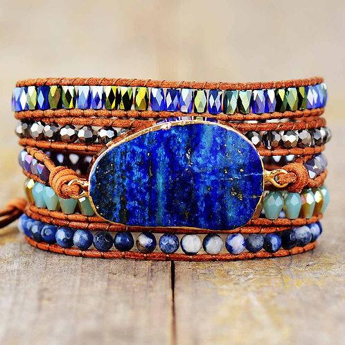 Wrap Bracelet With Natural Stones Lapis Lazuli Leather Strap Woven Beads