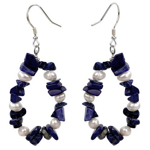Lapis Lazuli Pearl 925 Sterling Silver Drop Dangle Earrings