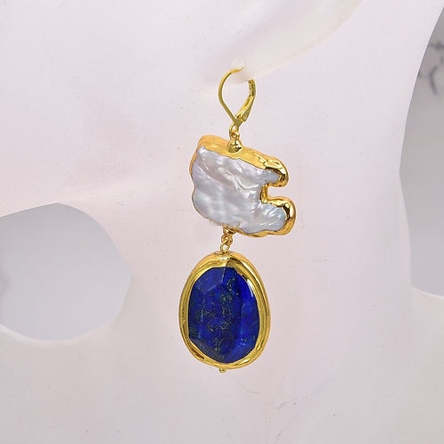 Cultured White Keshi Pearl Blue Lapis With Gold Plated Lever Back Earrings
