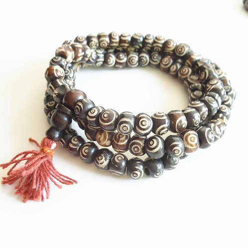 Tibetan Yak Bone Rosary Necklace Tibet 8-9mm Hand Carved Wisdom Eye Prayer Beads