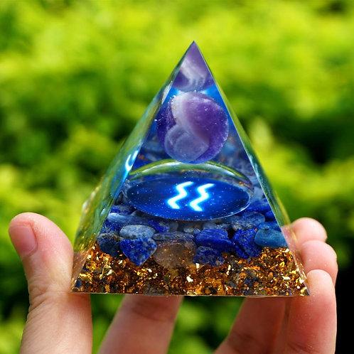 AQUARIUS Zodiac Orgone Pyramid Amethyst Sphere Lapis Lazuli Crystal Gemstone
