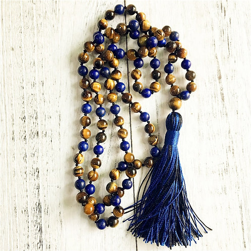 Mala Beads Necklace Tiger Eye & Lapis Lazuli Knotted Tassel Necklace