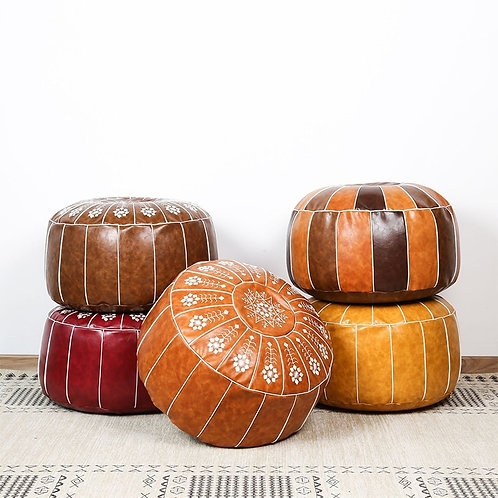 Nordic Style Moroccan Artificial Leather Pouf Craft Mandala Embroidery
