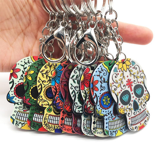 Skull Keychain Calavera Mexican Sugar Skull Lobster Key Chain Keyring