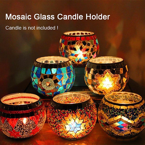 Moroccan Style Candle Holder Handmade Mosaic Candle Lamp Home Decoration