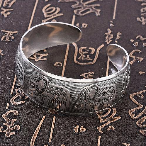 Elephant Tibetan Tibet Silver Color Totem Bangle Cuff Bracelet