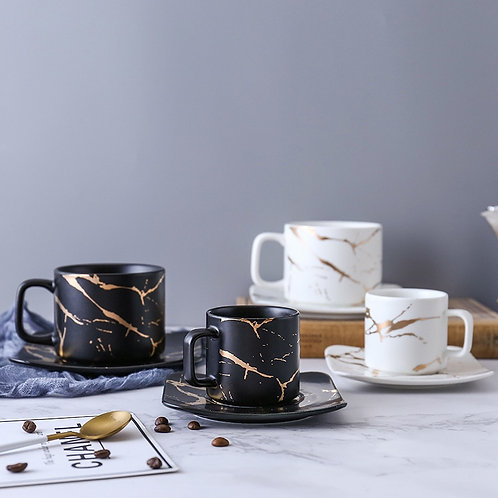 Marble Coffee Cup, Black and White Cup and Saucer Cup