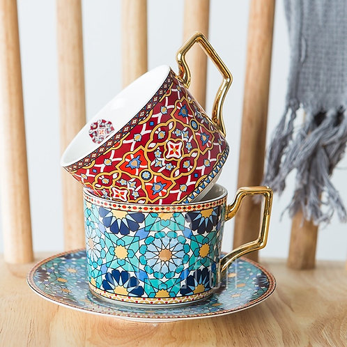 Moroccan Style Luxury Coffee Cup and Saucer Set With Gold Handle 250ml