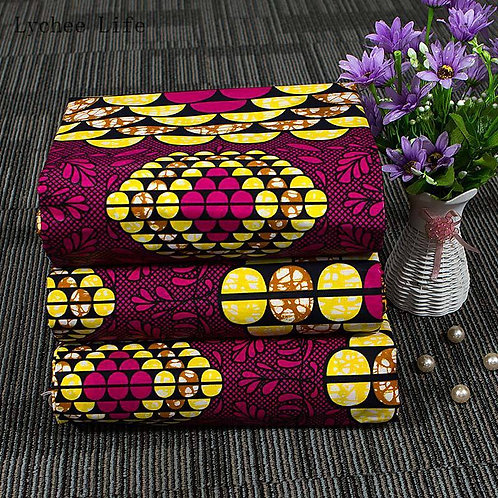 Lychee Life 3Yard Nigerian 100% Cotton Batik Fabric African Printed Wax Fabric