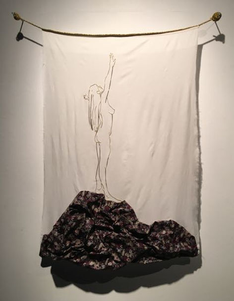Drawing, figurative drawing, textiles, silk, pattern, fabric