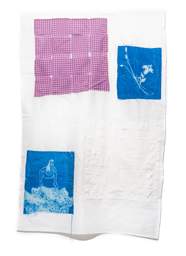 Drawing on silk with patchwork