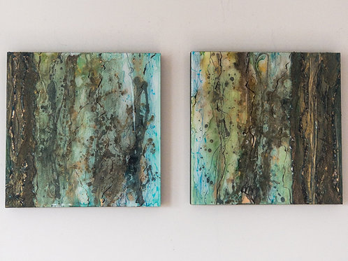 """Forest Bath 16x16"""" diptych (set of two)"""