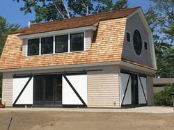 garage with barn doors