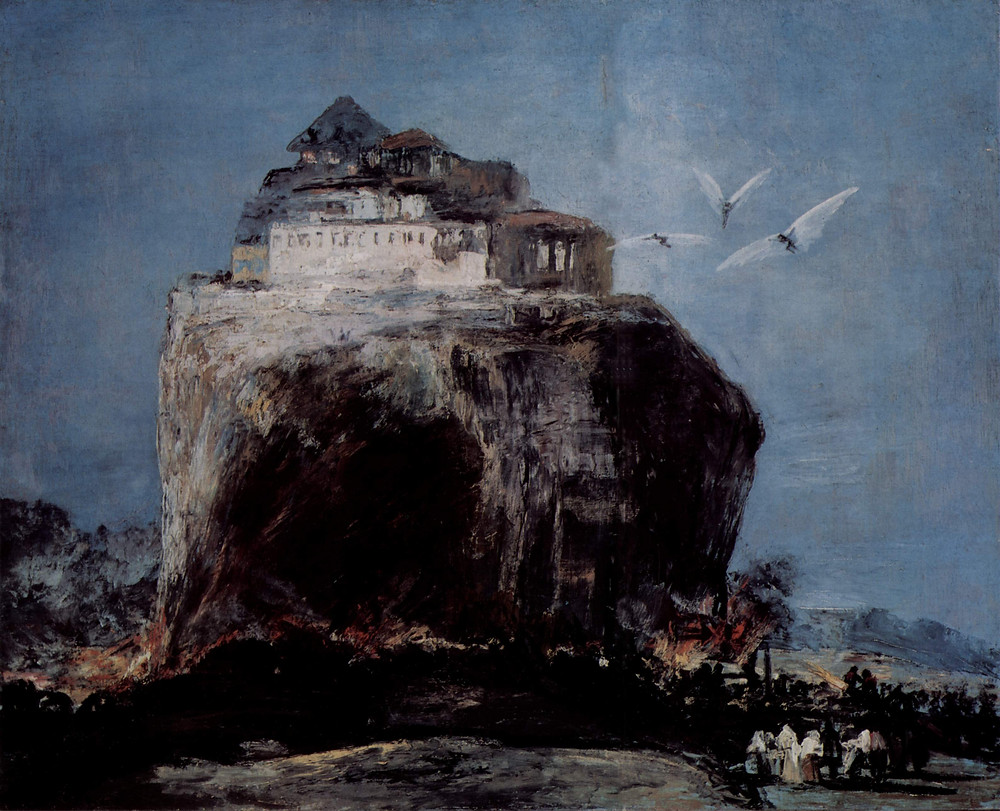 A City on a Rock, long attributed to Goya, is now thought to have been painted by the 19th-century forger Eugenic Lucas. Elements of the painting appear to have been copied from autographed works by Goya, and the painting is therefore classified as a pastiche. Compare to Goya's May tree.