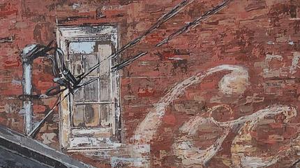 "The Coke Building - 9"" x 12"" - detail"