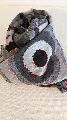 Sciarpa lana 100% ricamata a mano GRIGIO SCURO