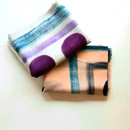 Sciarpa puro cashmere stampa geometrica